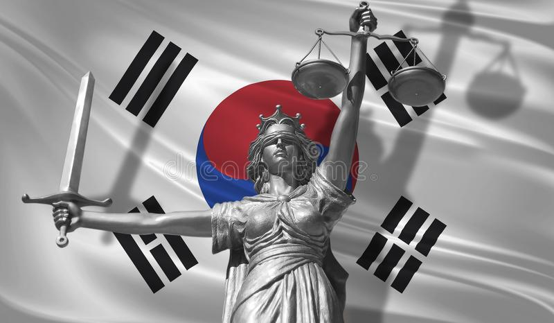 Cover about Law. Statue of god of justice Themis with Flag of South Korea background. Original Statue of Justice. Femida, with sca. Le, symbol of justice with vector illustration