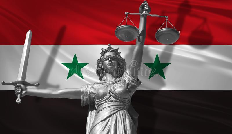 Cover about Law. Statue of god of justice Themis with Flag of Syria background. Original Statue of Justice. Femida, with scale, sy. Mbol of justice with waving vector illustration