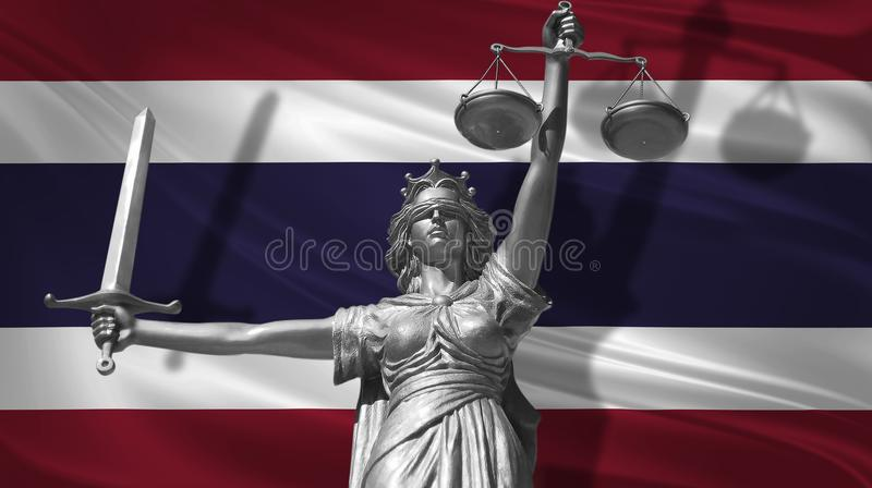 Cover about Law. Statue of god of justice Themis with Flag of Thailand background. Original Statue of Justice. Femida, with scale,. Symbol of justice with royalty free illustration