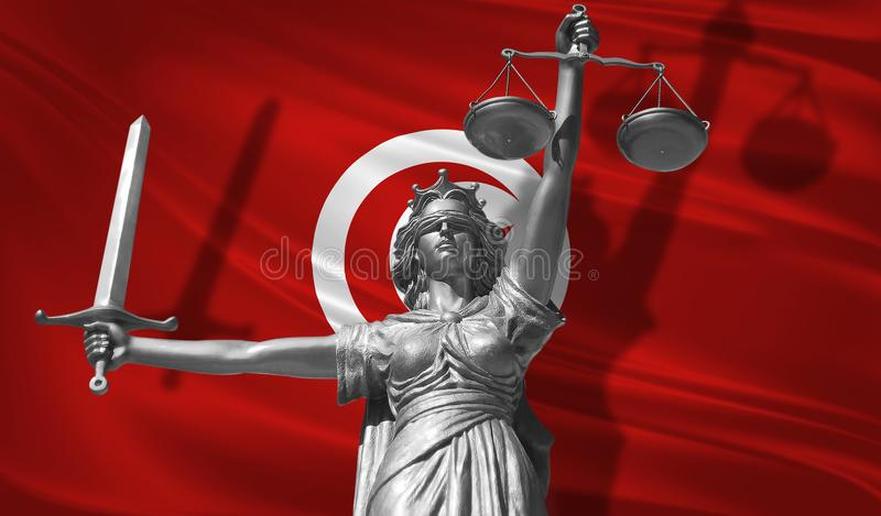 Cover about Law. Statue of god of justice Themis with Flag of Tunisia background. Original Statue of Justice. Femida, with scale,. Symbol of justice with stock illustration