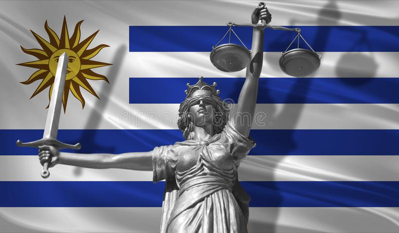 Cover about Law. Statue of god of justice Themis with Flag of Uruguay background. Original Statue of Justice. Femida, with scale,. Symbol of justice with royalty free illustration