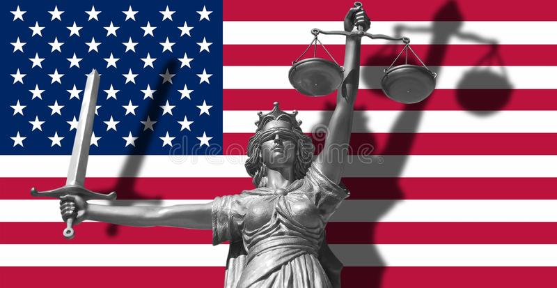 Cover about Law. Statue of god of justice Themis with Flag of USA background. Original Statue of Justice. Femida, with scale, symb. Ol of justice with USA flag vector illustration
