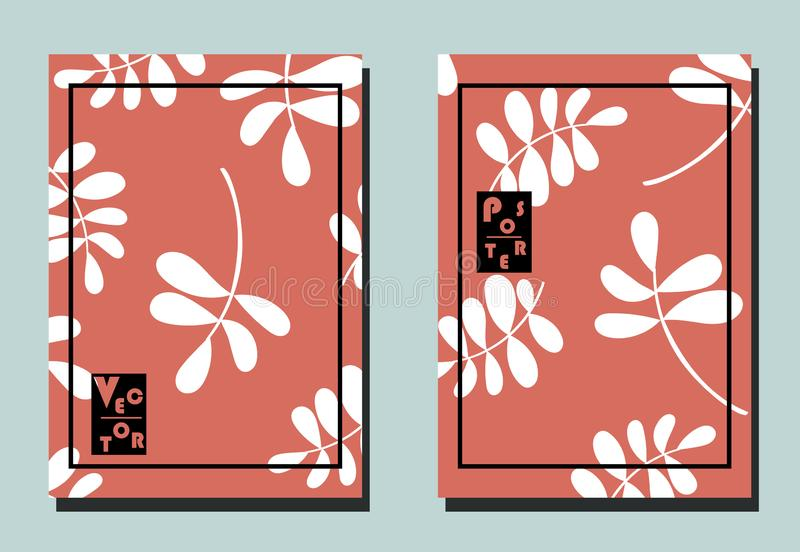 Cover with leaves. Art can be used for placard, flyer, banner. Cover with leaves. Two floral vector templates of flyers. A4 format. Art can be used for placard royalty free illustration