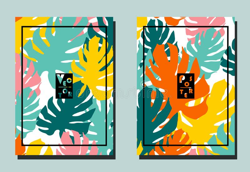 Cover with monstera leaves. Yellow, orange, blue, pink, turquoise colors. Two floral vector templates of flyers. A4 format. Cover with monstera  leaves. Yellow vector illustration