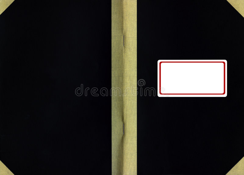 Cover of old book. Cover of old handwritten book with a rectangle label royalty free stock image