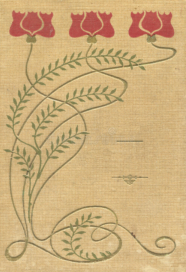 Cover of an old book of fabric patterns and colors stock illustration
