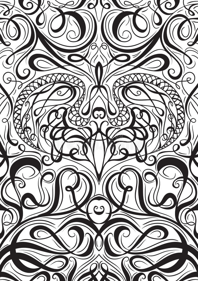 Cover ornament pattern playing cards or book with calligraphic decorative elements background. royalty free illustration