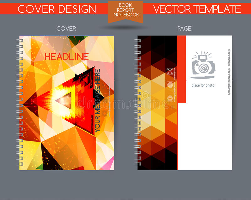Cover and page of the annual report. Vector design for books, notebooks, annual report. Book cover design isolated over colorful background. Logo and stock illustration