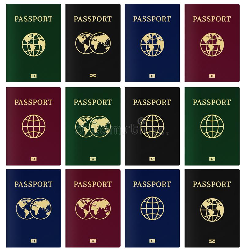 Cover page of biometric passport . Citizen ID with nano chip. Cover page of biometric passport . Citizen ID with nano chip stock illustration