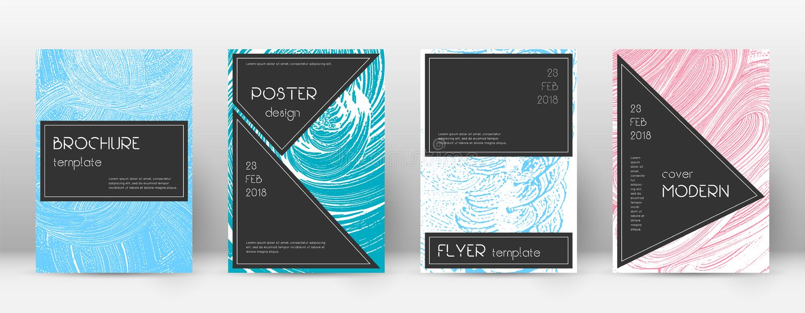 Cover page design template. Black brochure layout. Awesome trendy abstract cover page. royalty free illustration