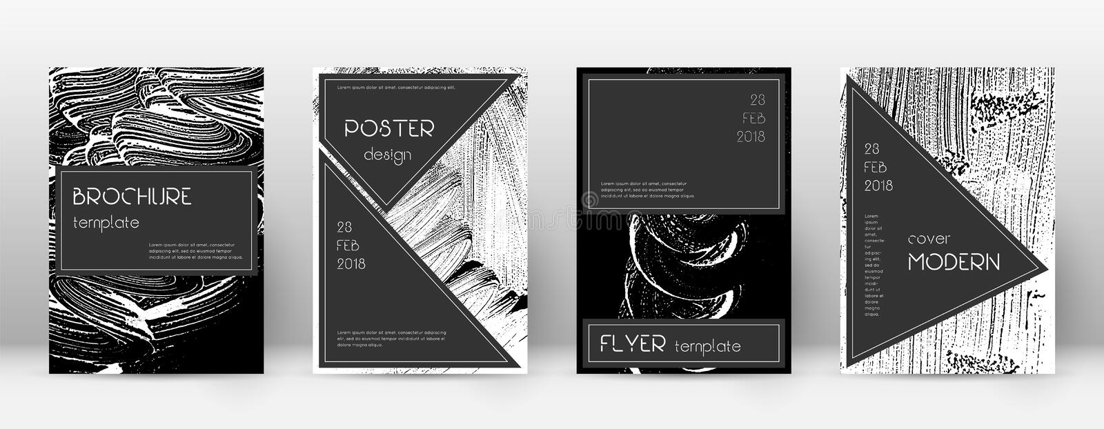 Cover page design template. Black brochure layout. Beauteous trendy abstract cover page. Black and w. Hite grunge texture background. Gorgeous poster stock illustration