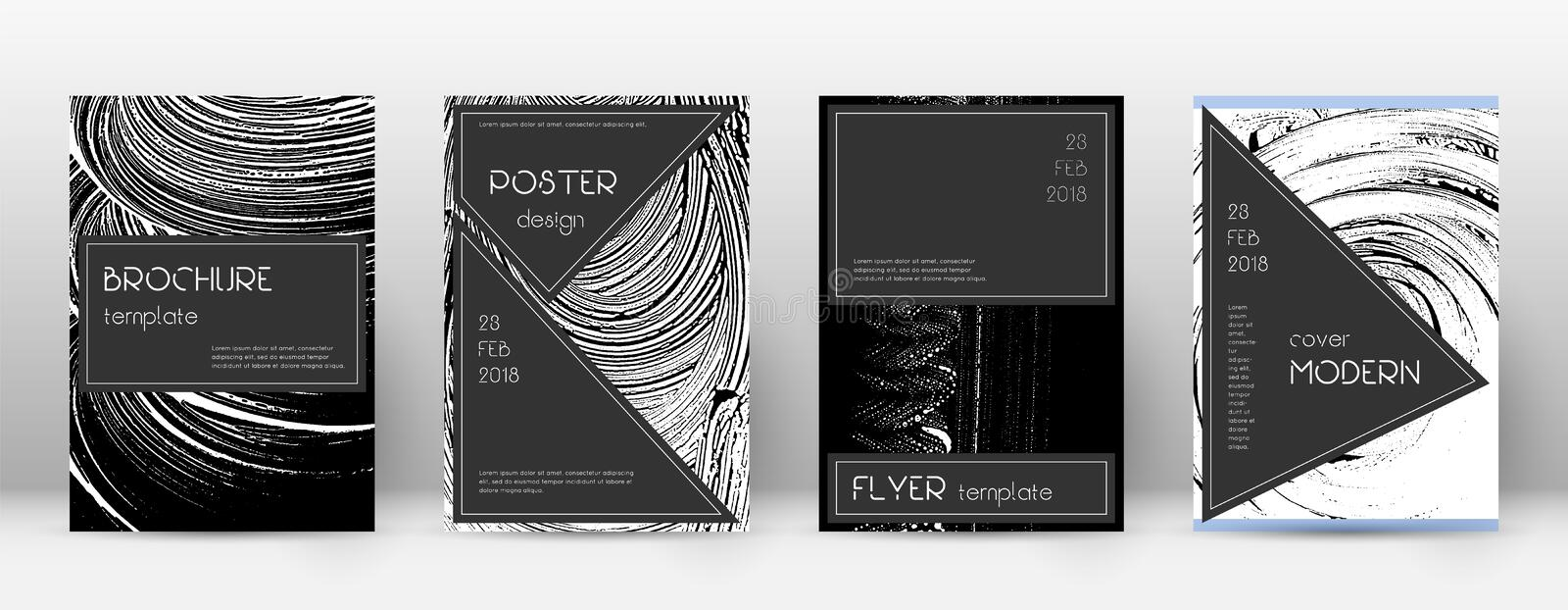 Cover page design template. Black brochure layout. Beauteous trendy abstract cover page. Black and w. Hite grunge texture background. Powerful poster vector illustration