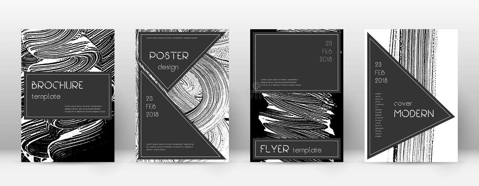 Cover page design template. Black brochure layout. Beauteous trendy abstract cover page. Black and w. Hite grunge texture background. Neat poster vector illustration