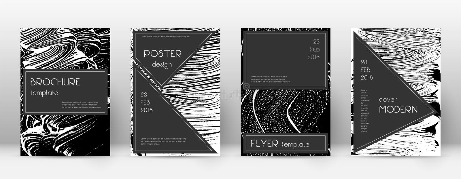 Cover page design template. Black brochure layout. Beauteous trendy abstract cover page. Black and w. Hite grunge texture background. Lively poster stock illustration
