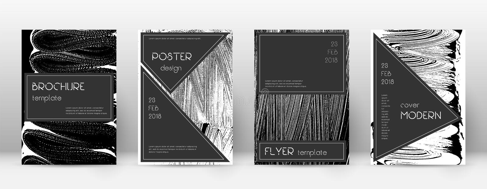 Cover page design template. Black brochure layout. Beauteous trendy abstract cover page. Black and w. Hite grunge texture background. Incredible poster vector illustration