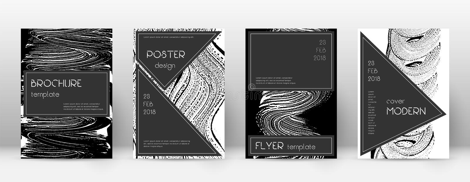 Cover page design template. Black brochure layout. Beauteous trendy abstract cover page. Black and w. Hite grunge texture background. Popular poster vector illustration