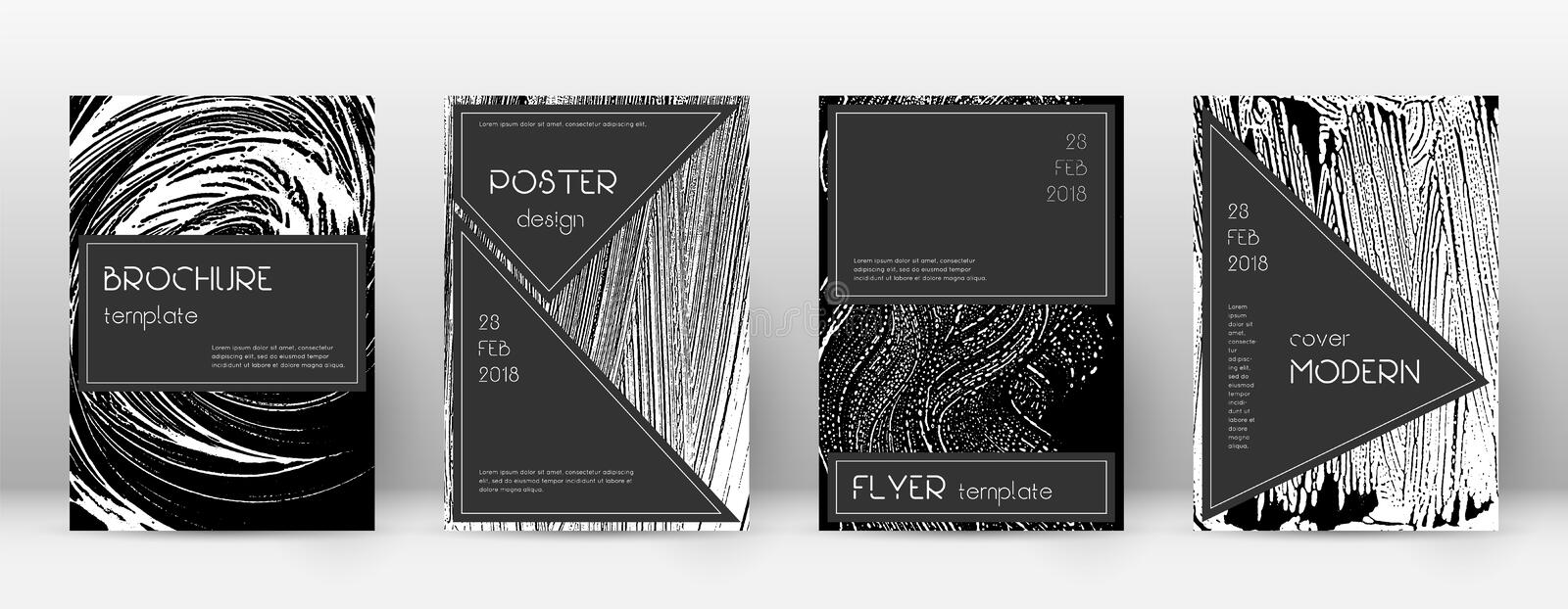 Cover page design template. Black brochure layout. Beauteous trendy abstract cover page. Black and white grunge texture background. Extraordinary poster royalty free illustration