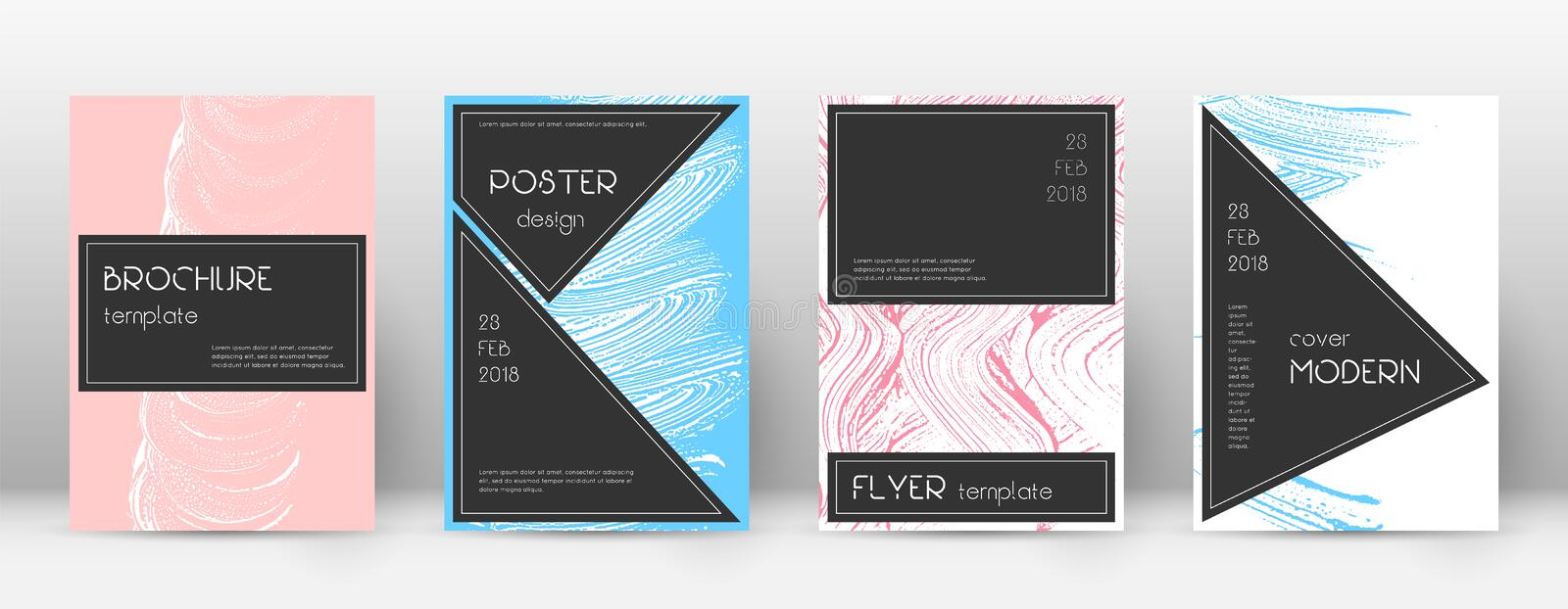 Cover page design template. Black brochure layout. Beauteous trendy abstract cover page. Pink and bl. Ue grunge texture background. Terrific poster stock illustration