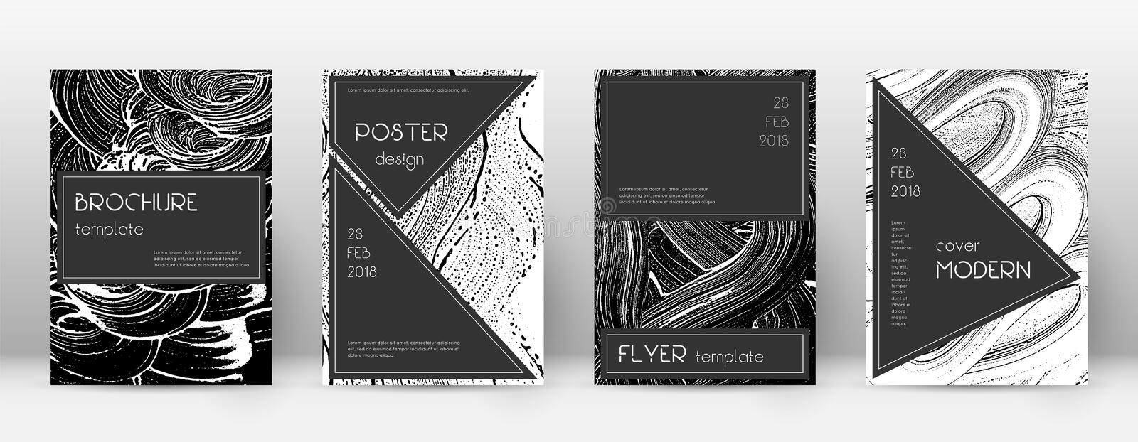 Cover page design template. Black brochure layout. Beauteous trendy abstract cover page. Black and white grunge texture background. Original poster stock illustration