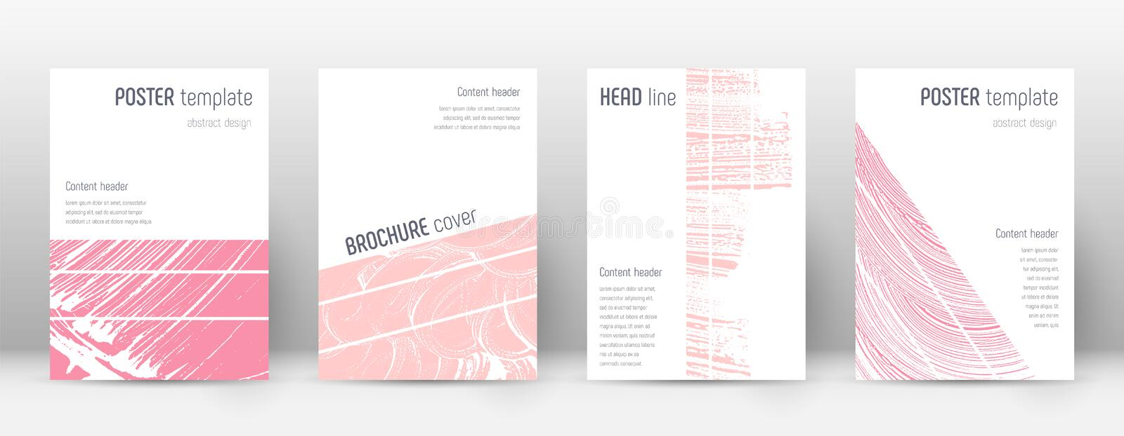Cover page design template. Geometric brochure layout. Breathtaking trendy abstract cover page. Pink stock illustration