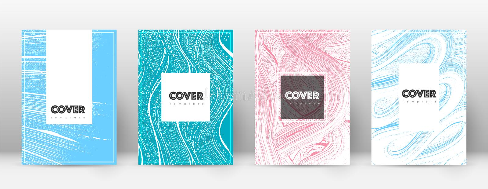 Cover page design template. Hipster brochure layout. Captivating trendy abstract cover page. Pink an stock illustration