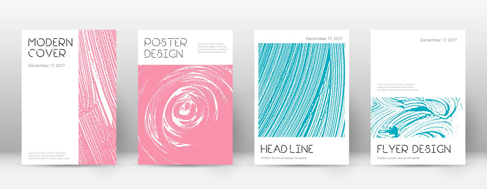 Cover page design template. Minimal brochure layou. T. Classic trendy abstract cover page. Pink and blue grunge texture background. Beauteous poster stock illustration