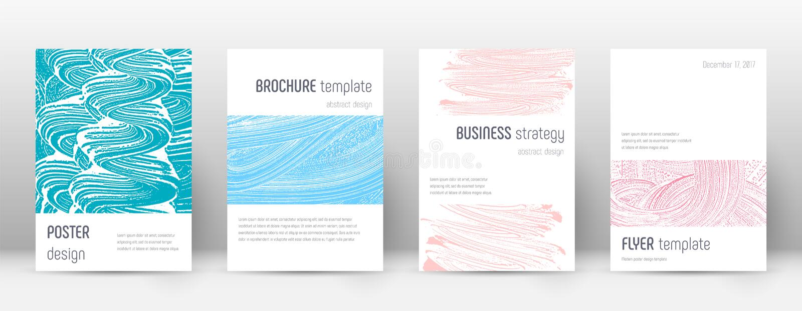 Cover page design template. Minimalistic brochure. Layout. Classic trendy abstract cover page. Pink and blue grunge texture background. Shapely poster vector illustration