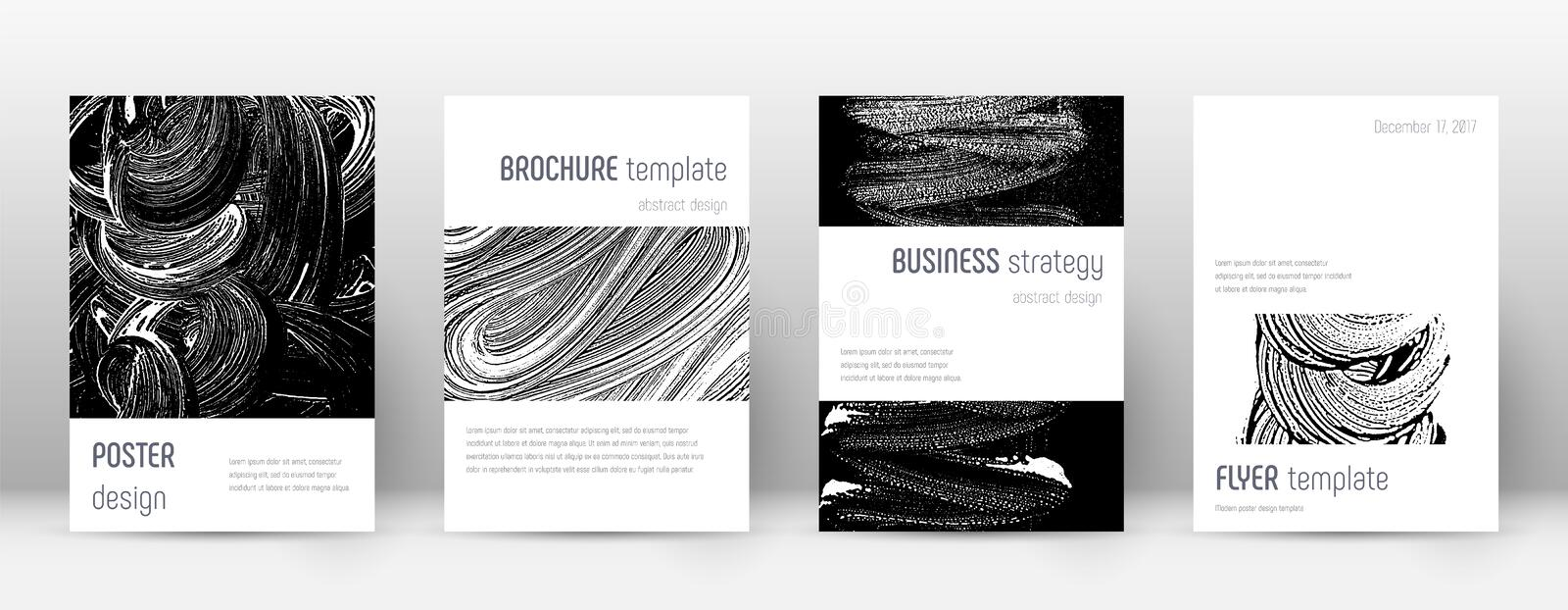Cover page design template. Minimalistic brochure. Layout. Classic trendy abstract cover page. Black and white grunge texture background. Imaginative poster vector illustration