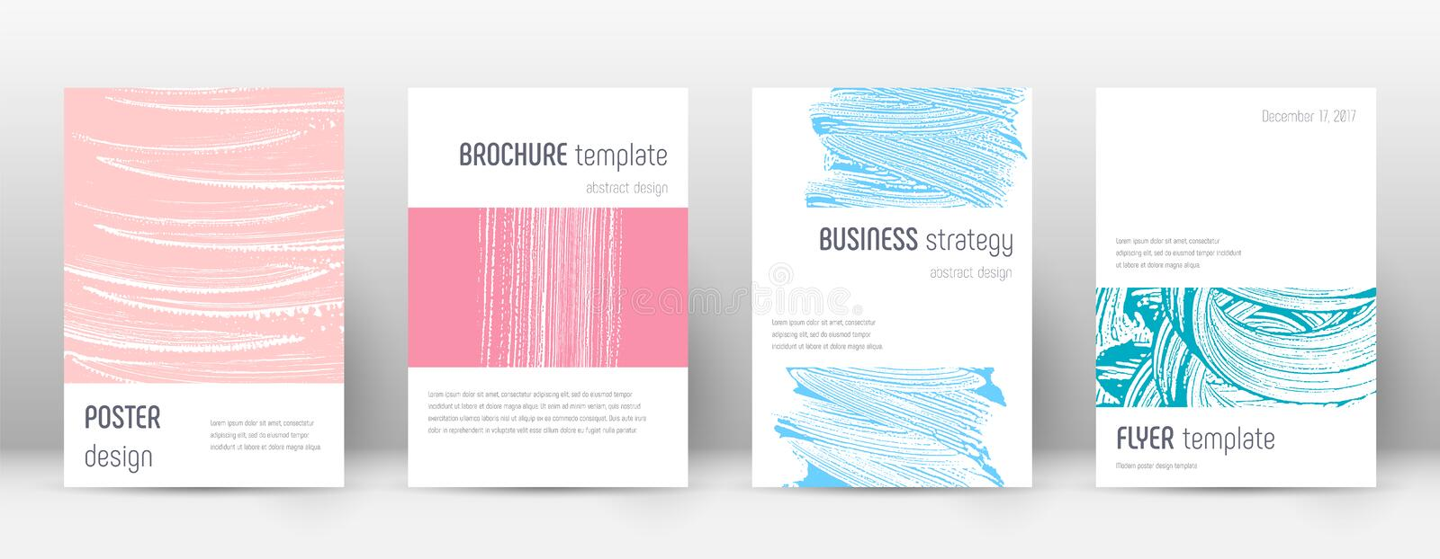 Cover page design template. Minimalistic brochure. Layout. Classic trendy abstract cover page. Pink and blue grunge texture background. Rare poster royalty free illustration