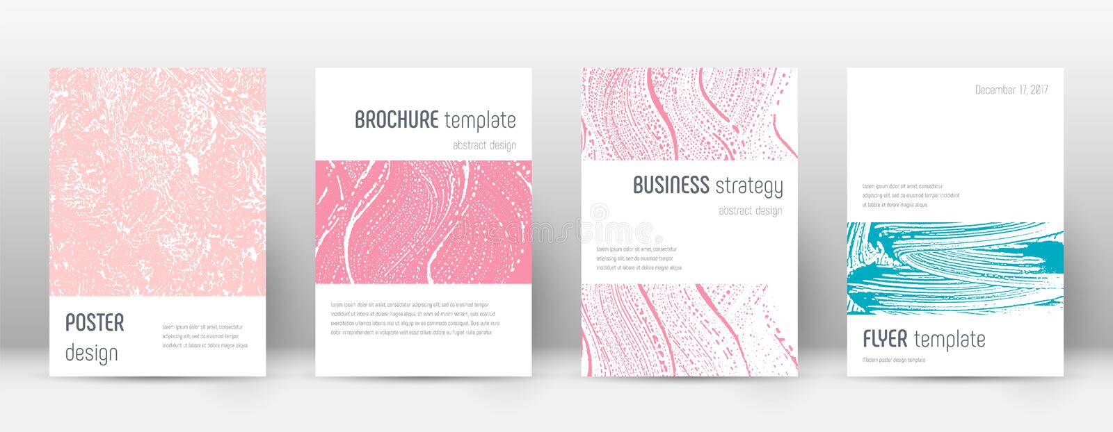 Cover page design template. Minimalistic brochure. Layout. Classic trendy abstract cover page. Pink and blue grunge texture background. Remarkable poster royalty free illustration