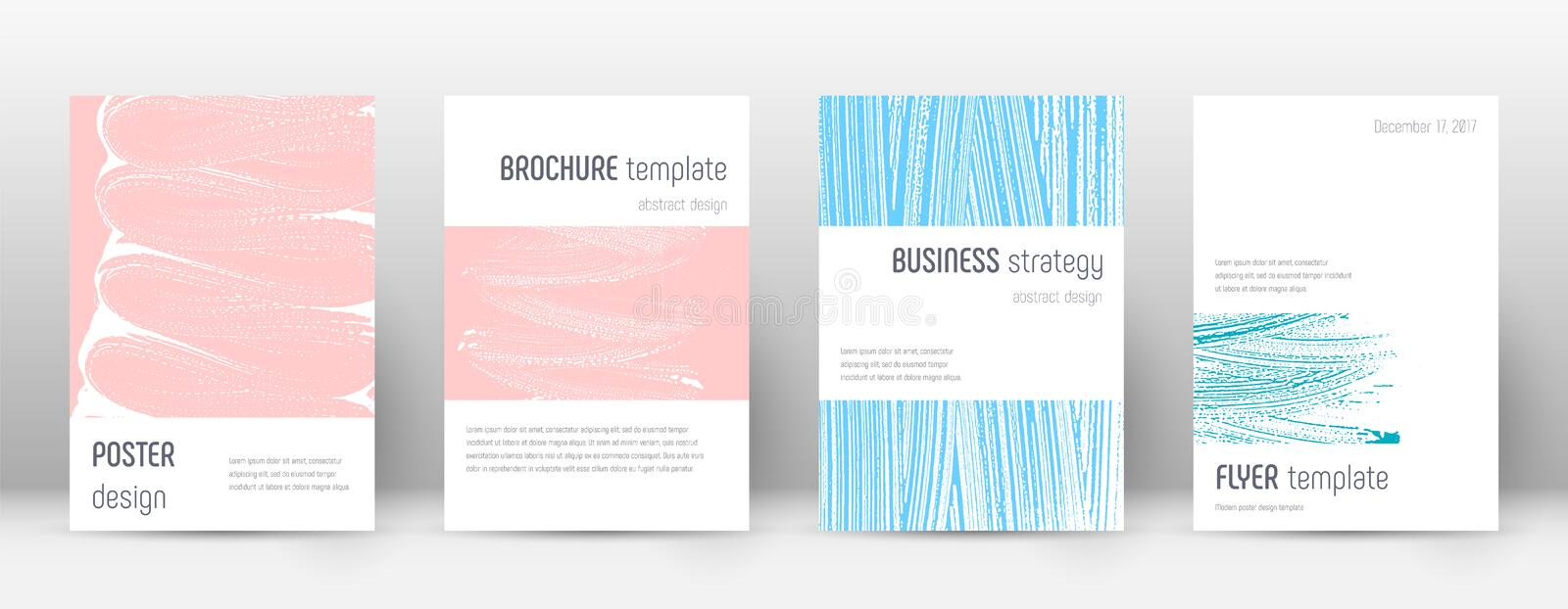 Cover page design template. Minimalistic brochure. Layout. Classy trendy abstract cover page. Pink and blue grunge texture background. Stunning poster stock illustration