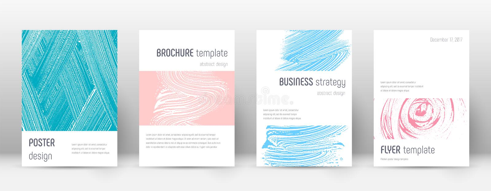 Cover page design template. Minimalistic brochure. Layout. Classy trendy abstract cover page. Pink and blue grunge texture background. Ecstatic poster vector illustration