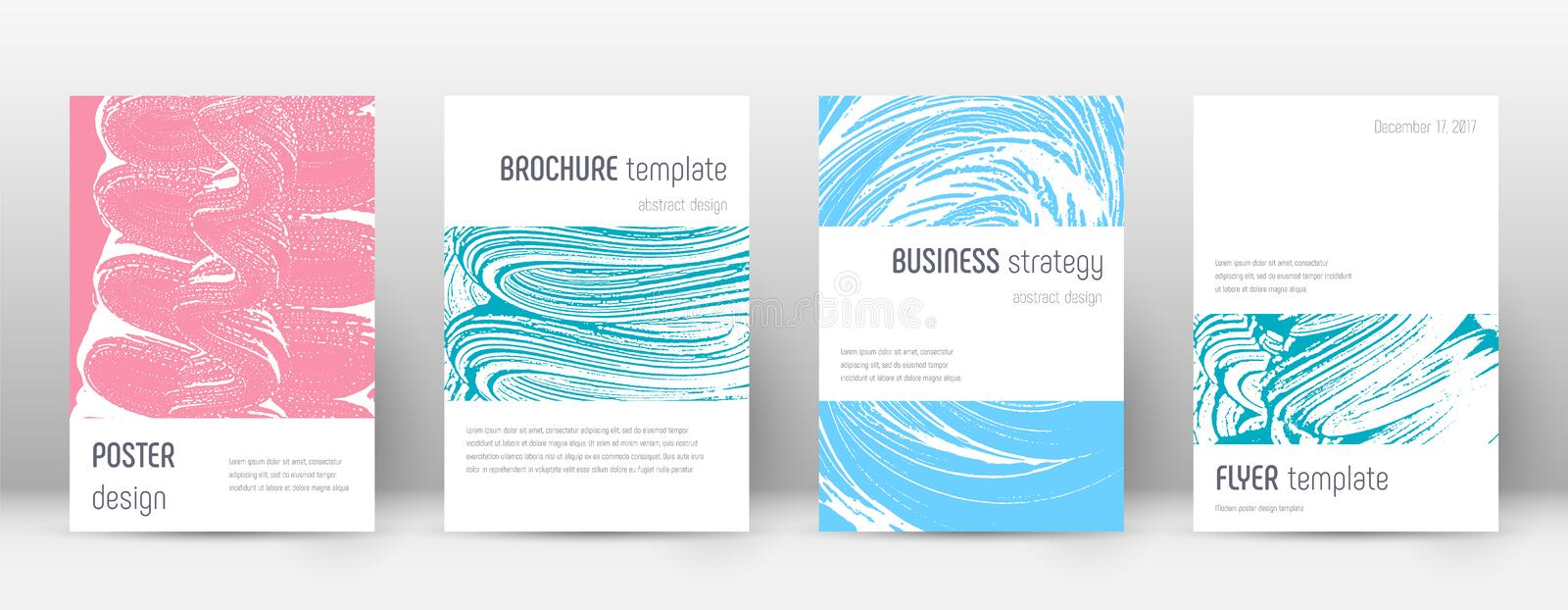 Cover page design template. Minimalistic brochure. Layout. Classy trendy abstract cover page. Pink and blue grunge texture background. Curious poster stock illustration