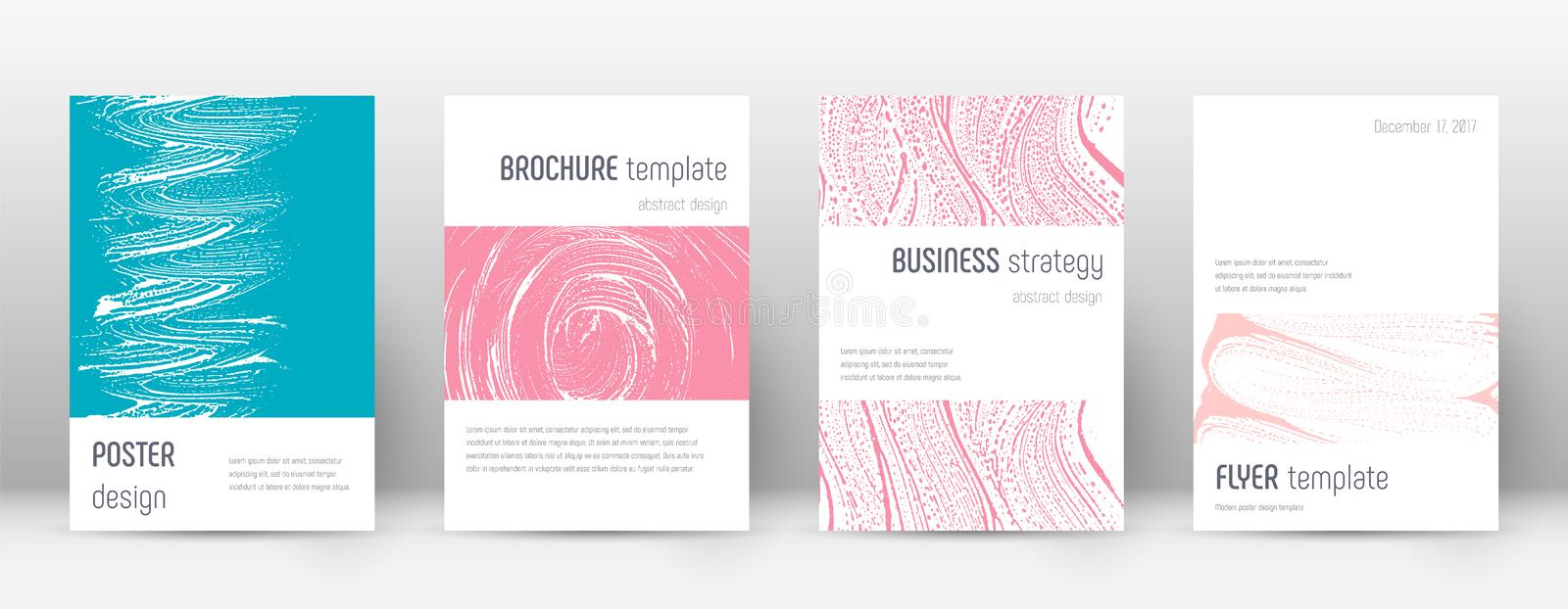 Cover page design template. Minimalistic brochure. Layout. Classy trendy abstract cover page. Pink and blue grunge texture background. Fetching poster vector illustration