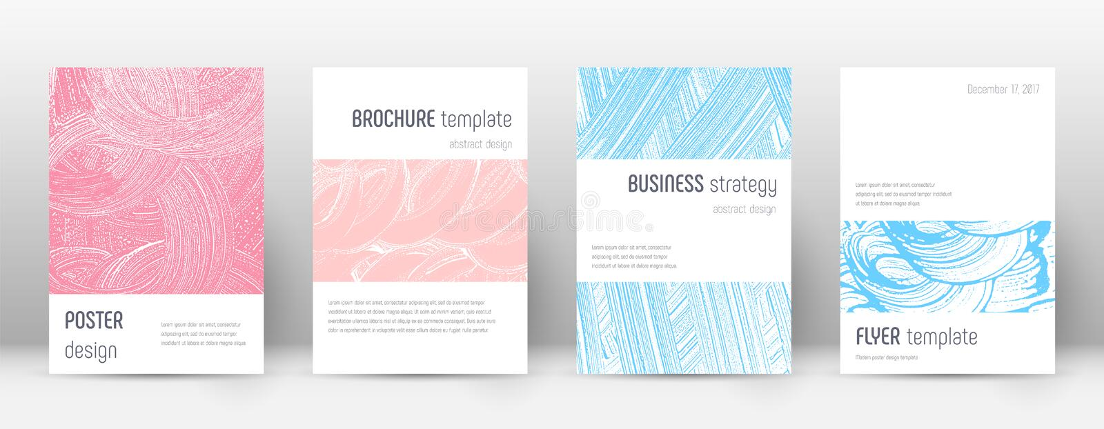 Cover page design template. Minimalistic brochure. Layout. Classy trendy abstract cover page. Pink and blue grunge texture background. Bold poster vector illustration