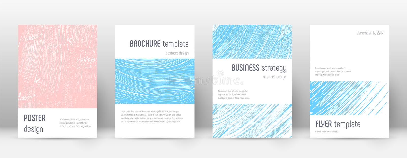 Cover page design template. Minimalistic brochure. Layout. Classy trendy abstract cover page. Pink and blue grunge texture background. Trending poster vector illustration