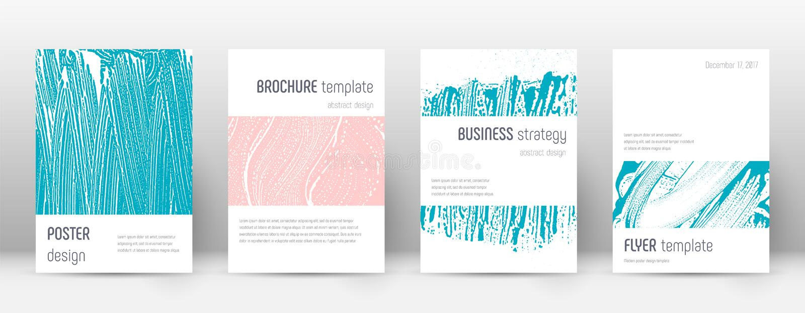 Cover page design template. Minimalistic brochure. Layout. Classy trendy abstract cover page. Pink and blue grunge texture background. Wonderful poster royalty free illustration