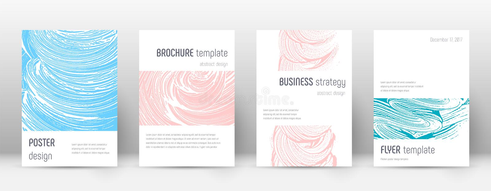Cover page design template. Minimalistic brochure. Layout. Classy trendy abstract cover page. Pink and blue grunge texture background. Magnetic poster vector illustration