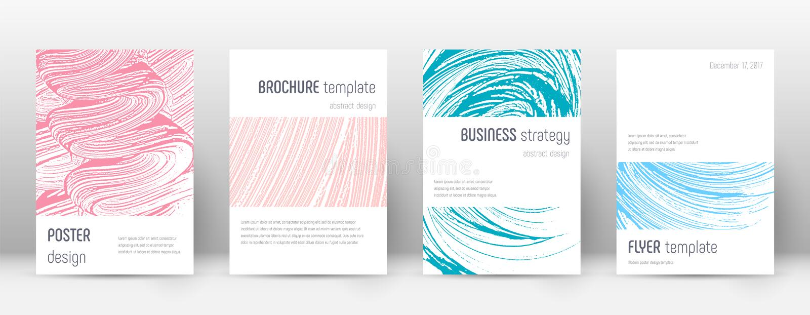Cover page design template. Minimalistic brochure. Layout. Comely trendy abstract cover page. Pink and blue grunge texture background. Astonishing poster vector illustration