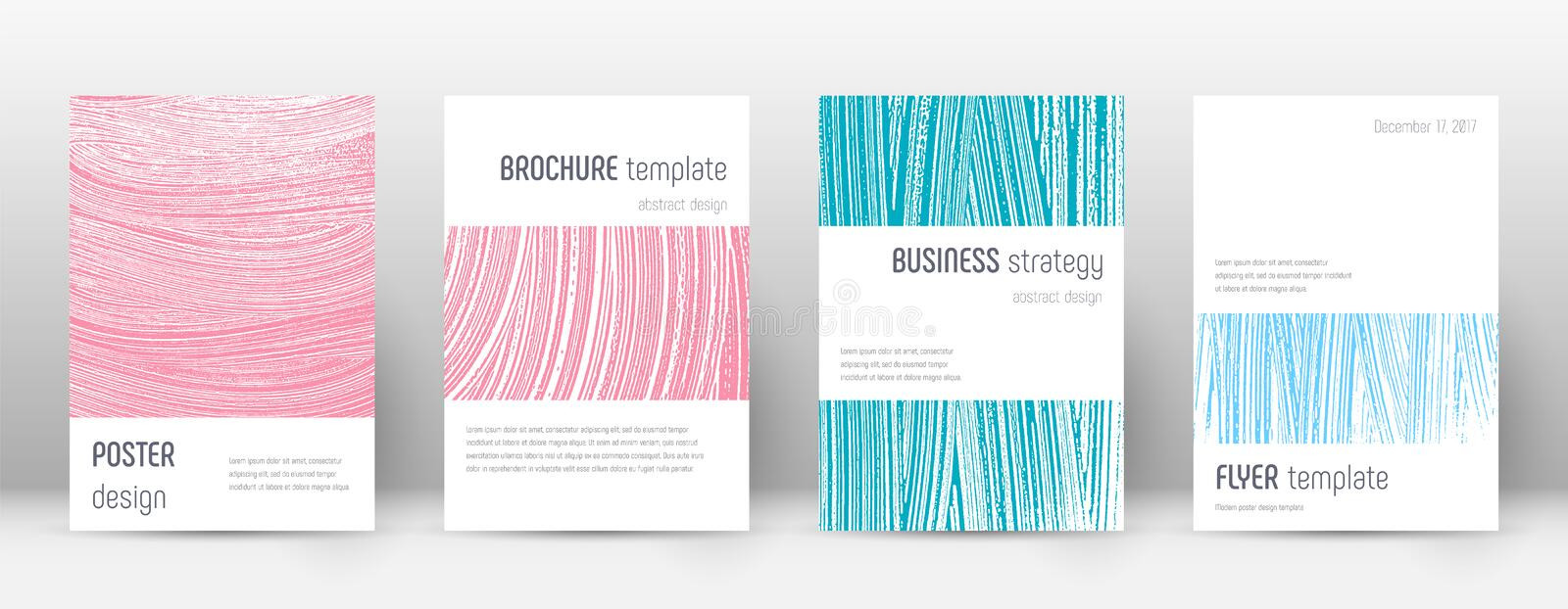 Cover page design template. Minimalistic brochure. Layout. Comely trendy abstract cover page. Pink and blue grunge texture background. Brilliant poster stock illustration