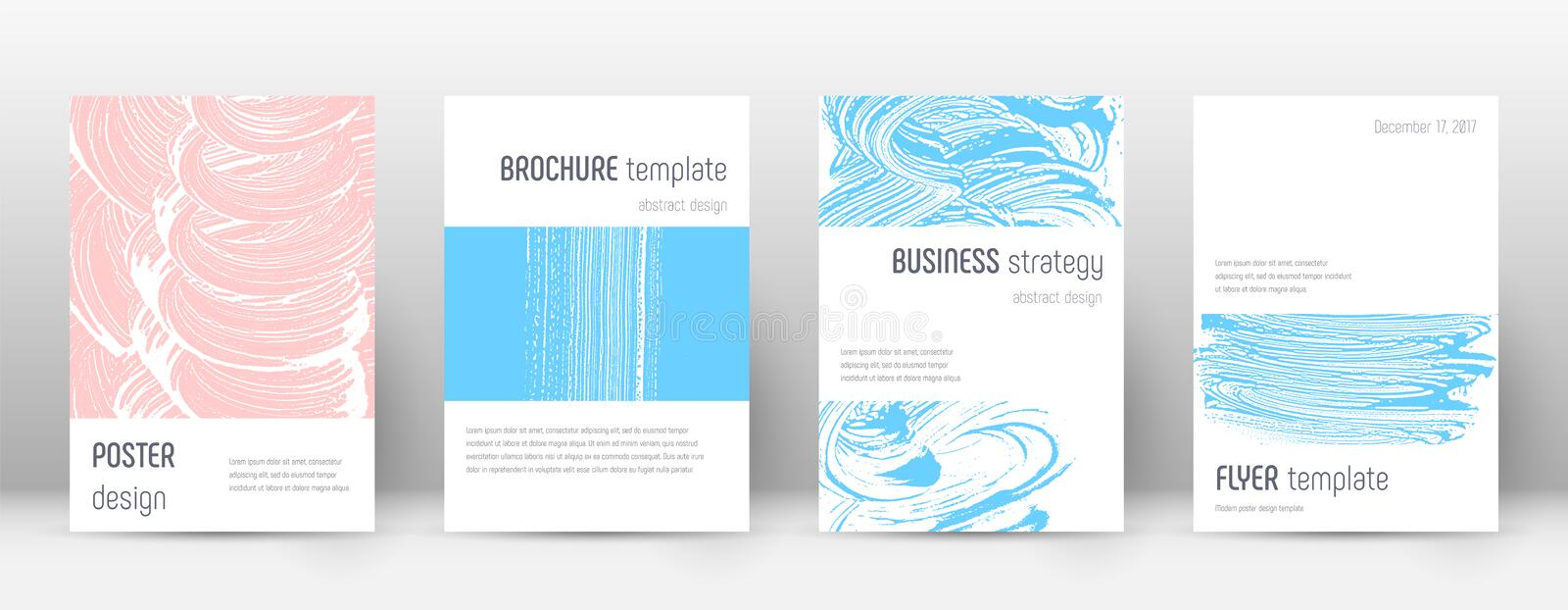 Cover page design template. Minimalistic brochure layout. Breathtaking trendy abstract cover page. Pink and blue grunge texture background. Fine poster vector illustration