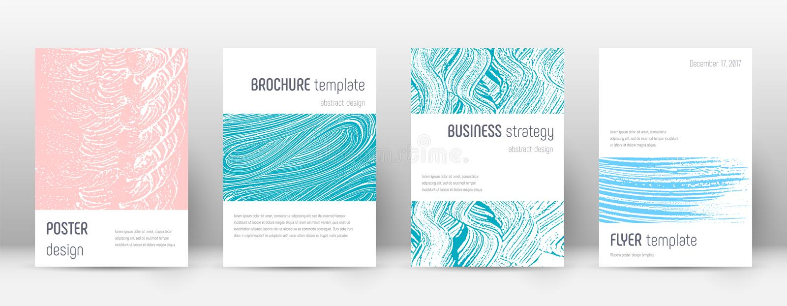 Cover page design template. Minimalistic brochure layout. Brilliant trendy abstract cover page. Pink and blue grunge texture background. Beautiful poster vector illustration