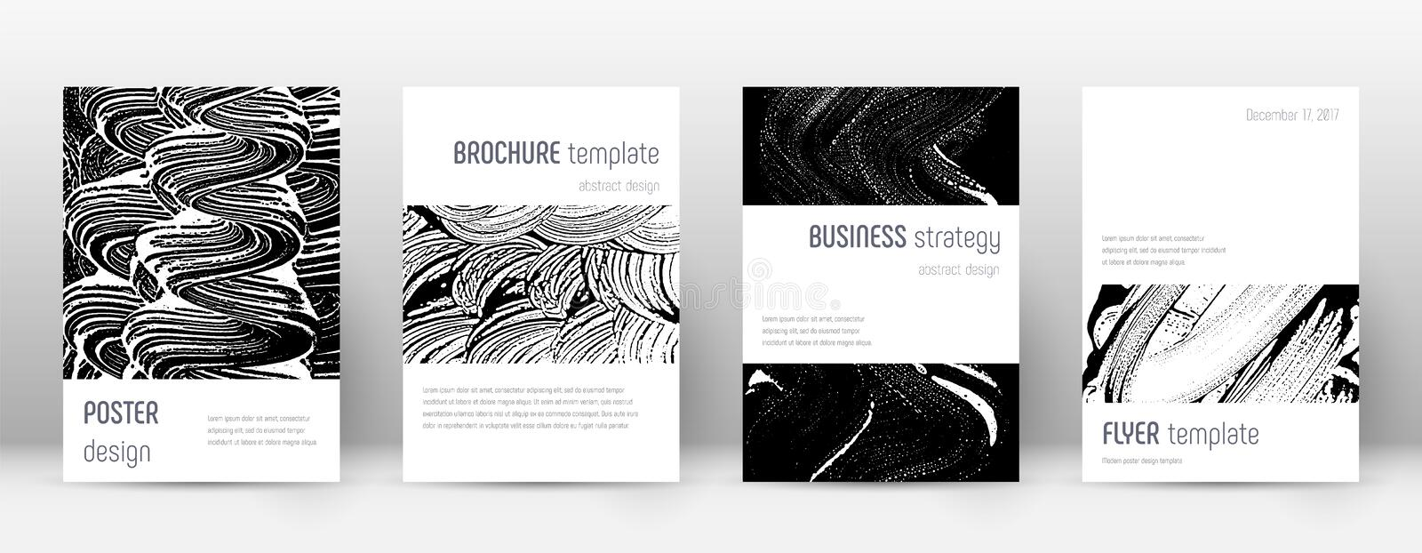 Cover page design template. Minimalistic brochure. Layout. Classic trendy abstract cover page. Black and white grunge texture background. Energetic poster vector illustration