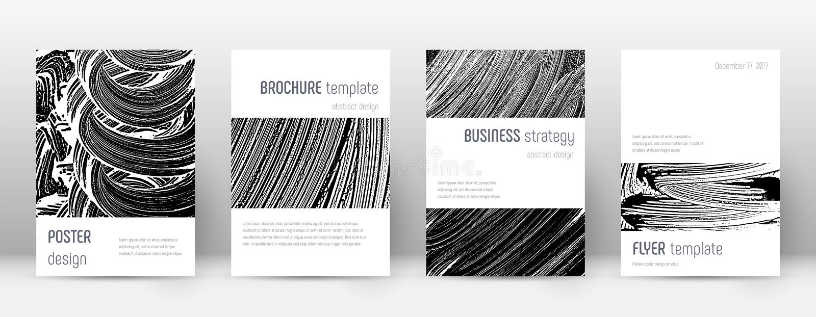 Cover page design template. Minimalistic brochure. Layout. Classic trendy abstract cover page. Black and white grunge texture background. Modern poster stock illustration