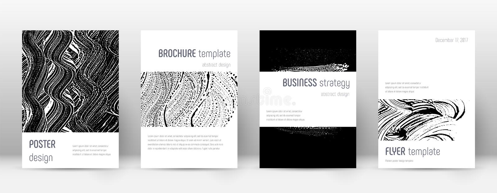Cover page design template. Minimalistic brochure. Layout. Classic trendy abstract cover page. Black and white grunge texture background. Exotic poster stock illustration