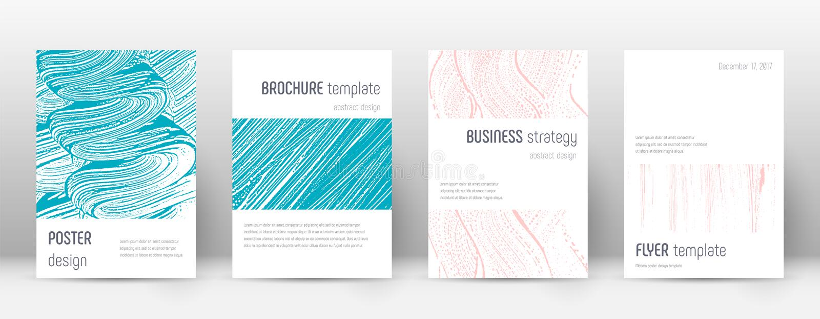 Cover page design template. Minimalistic brochure. Layout. Classic trendy abstract cover page. Pink and blue grunge texture background. Ravishing poster royalty free illustration