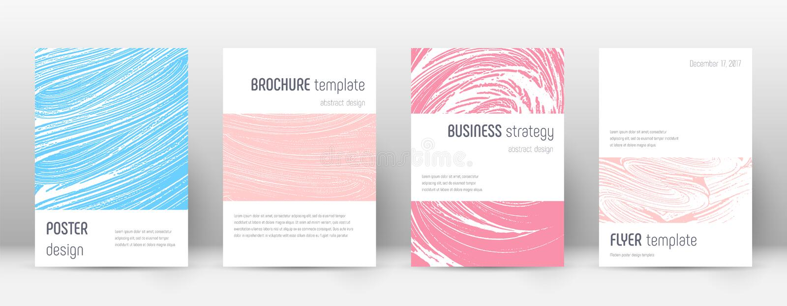 Cover page design template. Minimalistic brochure. Layout. Classic trendy abstract cover page. Pink and blue grunge texture background. Valuable poster stock illustration