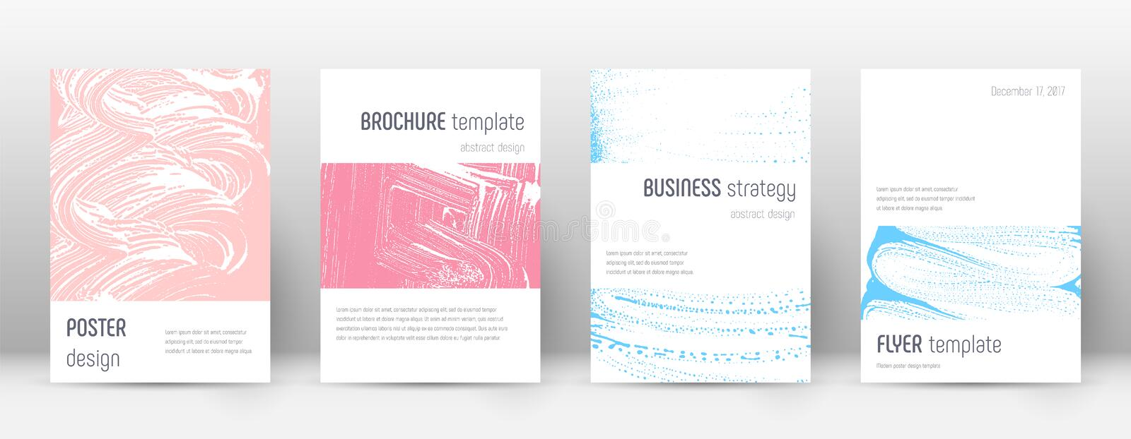 Cover page design template. Minimalistic brochure. Layout. Classic trendy abstract cover page. Pink and blue grunge texture background. Worthy poster royalty free illustration