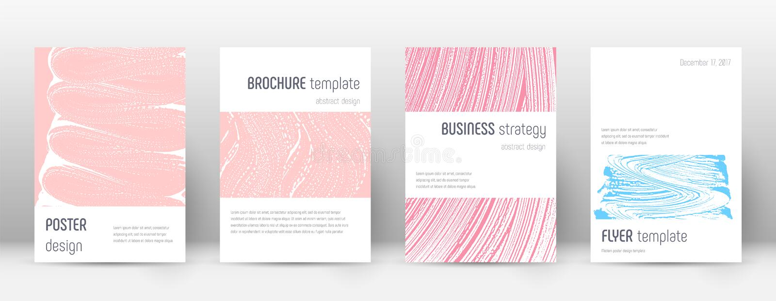 Cover page design template. Minimalistic brochure. Layout. Classy trendy abstract cover page. Pink and blue grunge texture background. Pleasing poster stock illustration