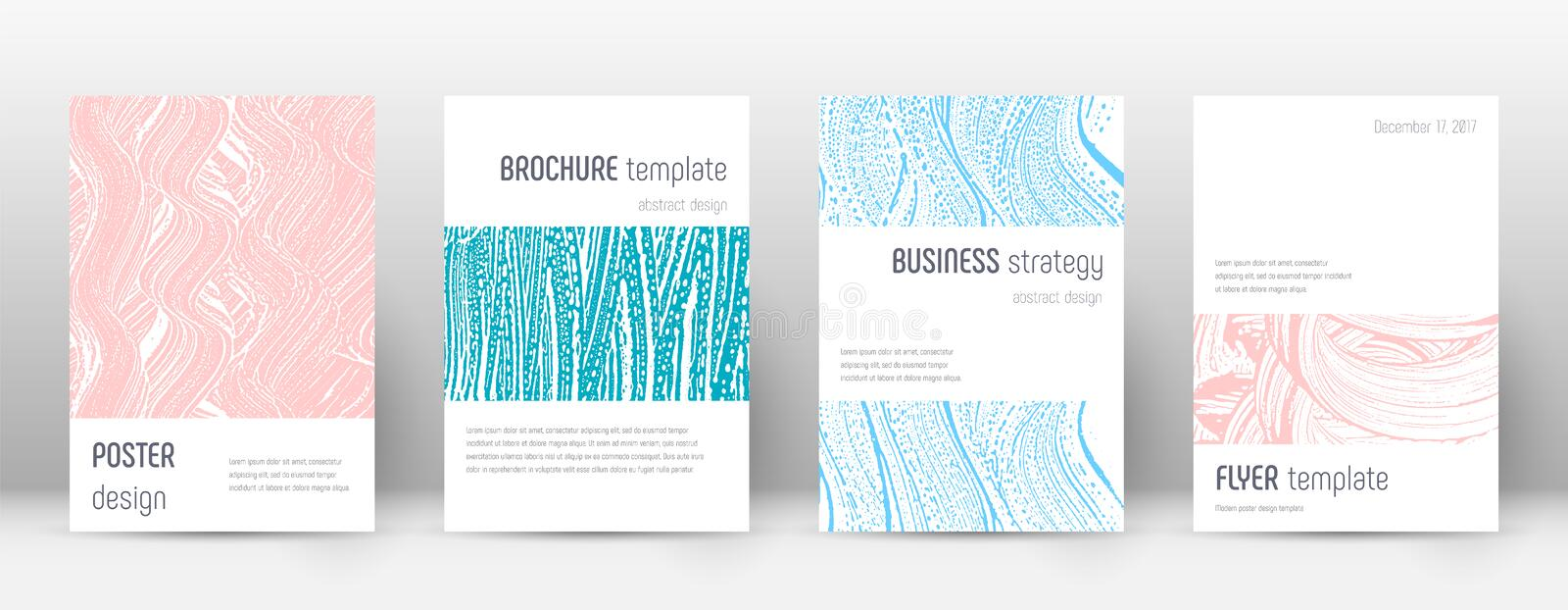 Cover page design template. Minimalistic brochure. Layout. Classy trendy abstract cover page. Pink and blue grunge texture background. Exquisite poster stock illustration